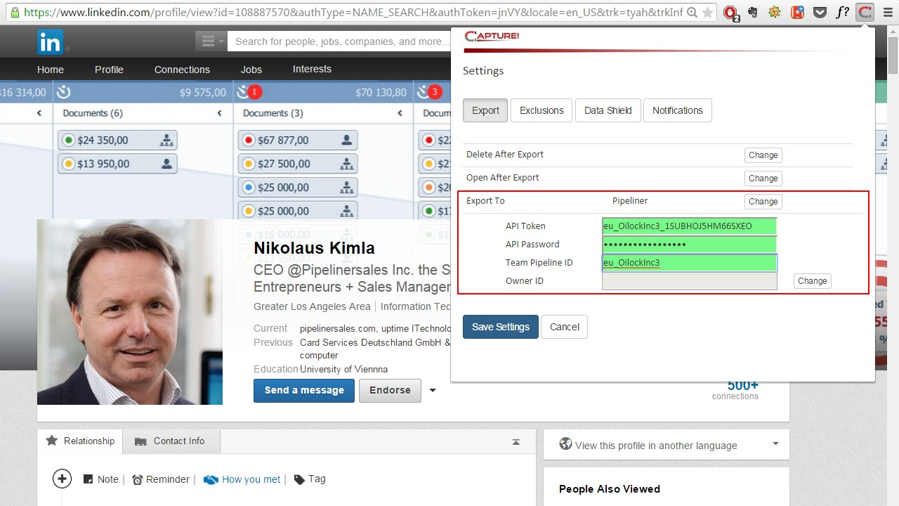 Capture - Configure Pipeliner CRM API Keys
