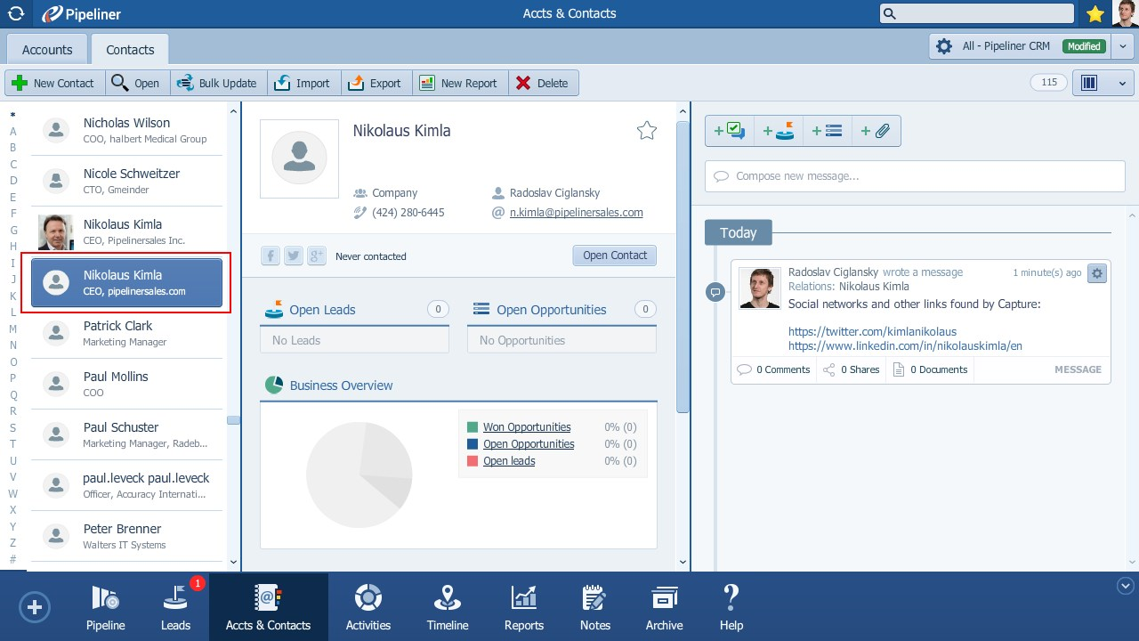 LinkedIn Contact in Pipeliner CRM