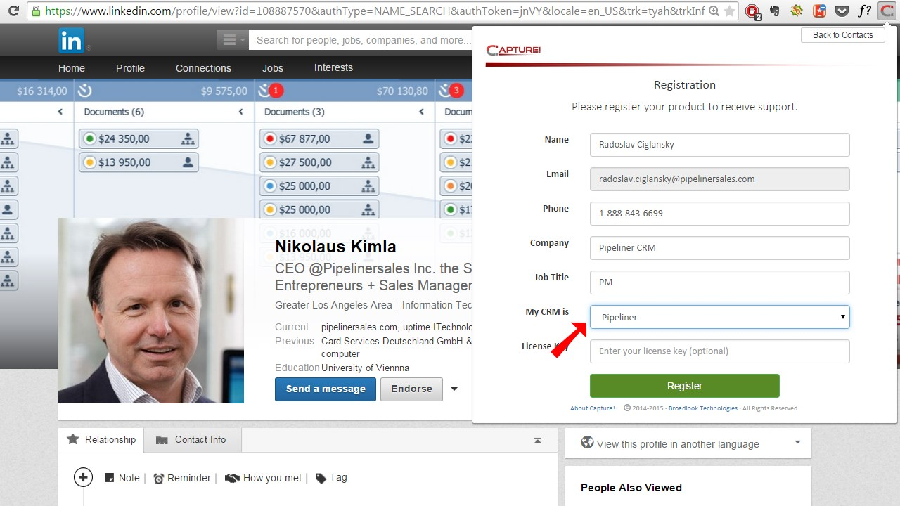 Registering to Capture - Select Pipeliner CRM