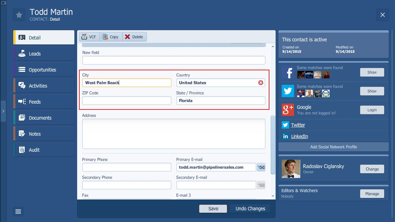 Pipeliner CRM Automatic Address Fill In