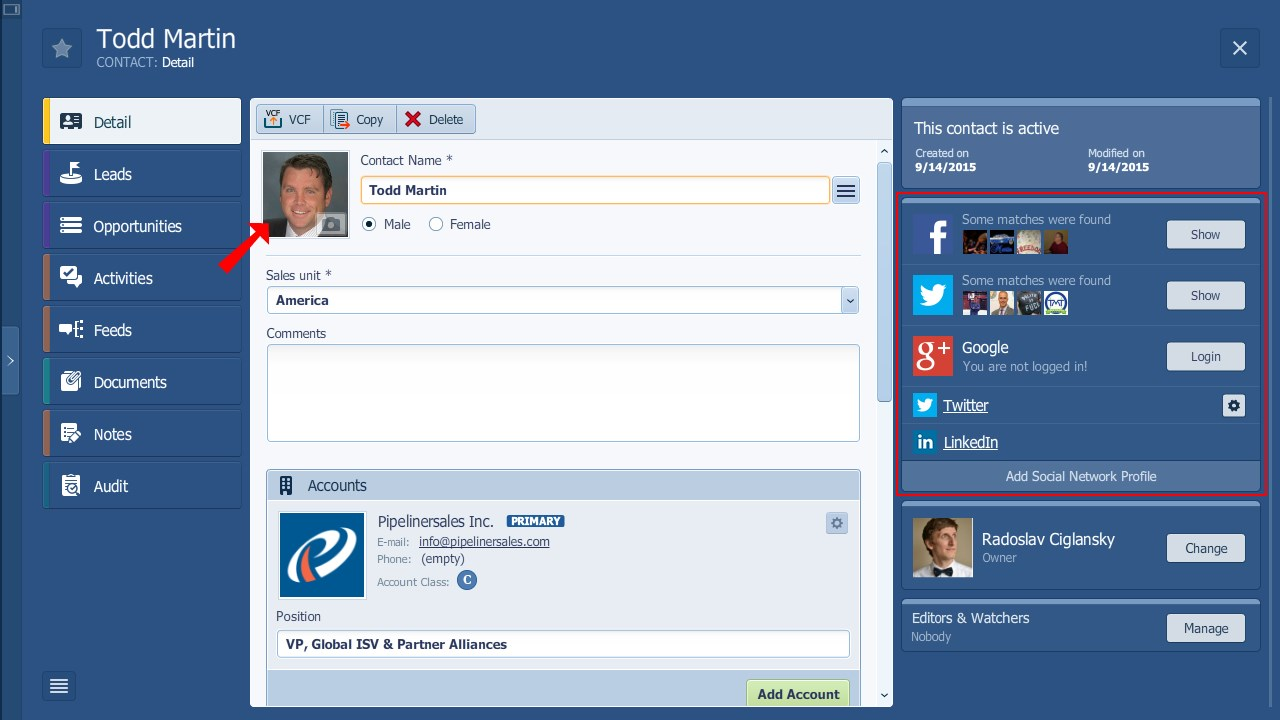 Pipeliner CRM Automatic Data Profiling and Avatar