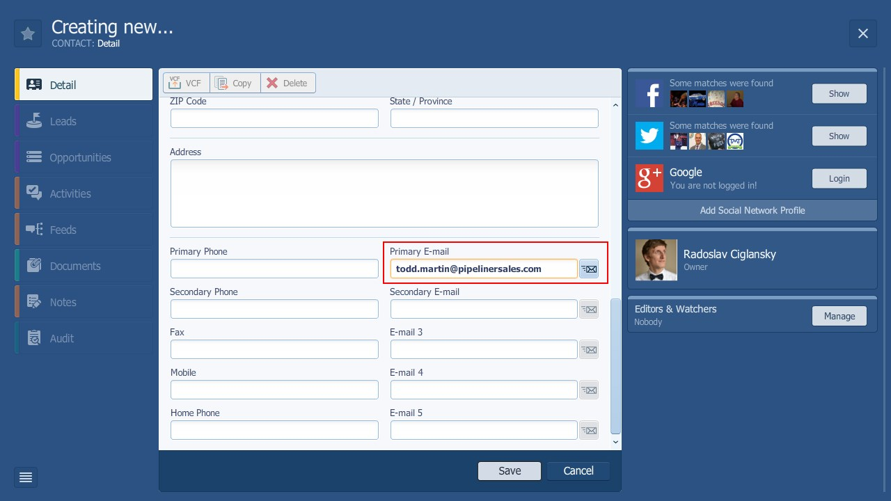 Pipeliner CRM Contact Email Address