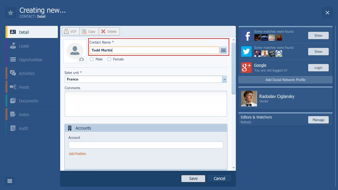 Pipeliner CRM Contact Name