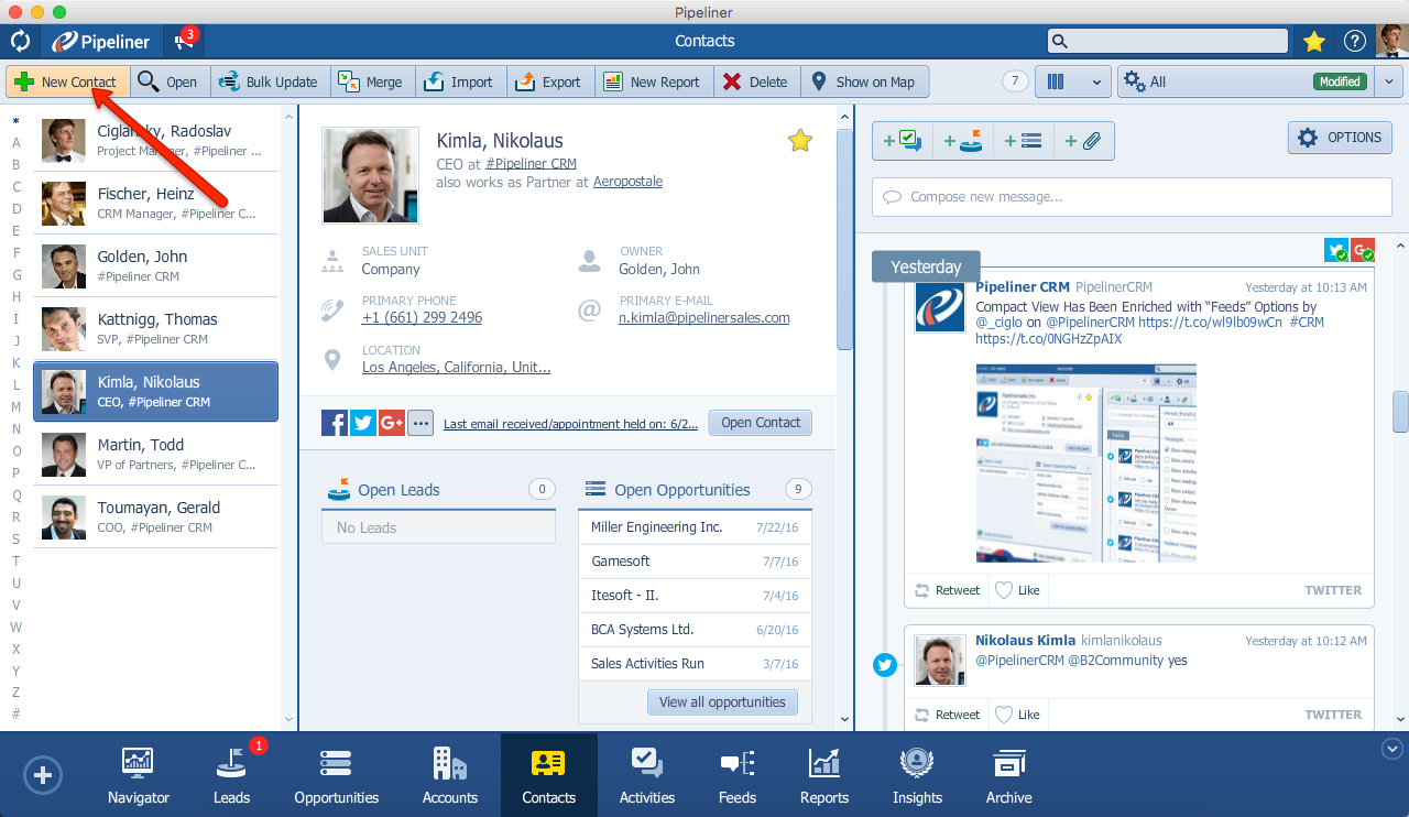 Pipeliner CRM Create New Contact
