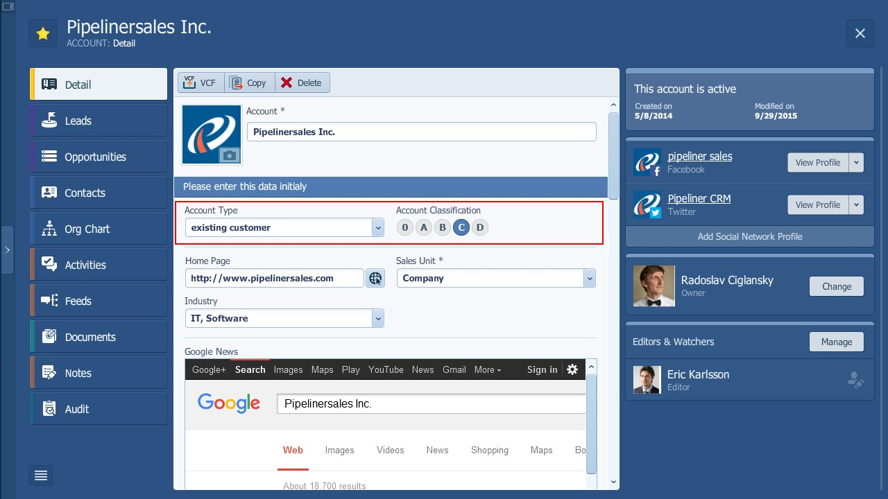 Pipeliner CRM Key Account Management Classification