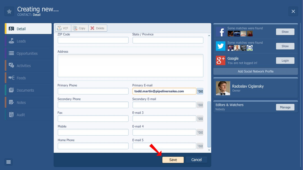 Pipeliner CRM Save New Contact