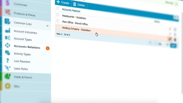 Pipeliner CRM Accounts Relations