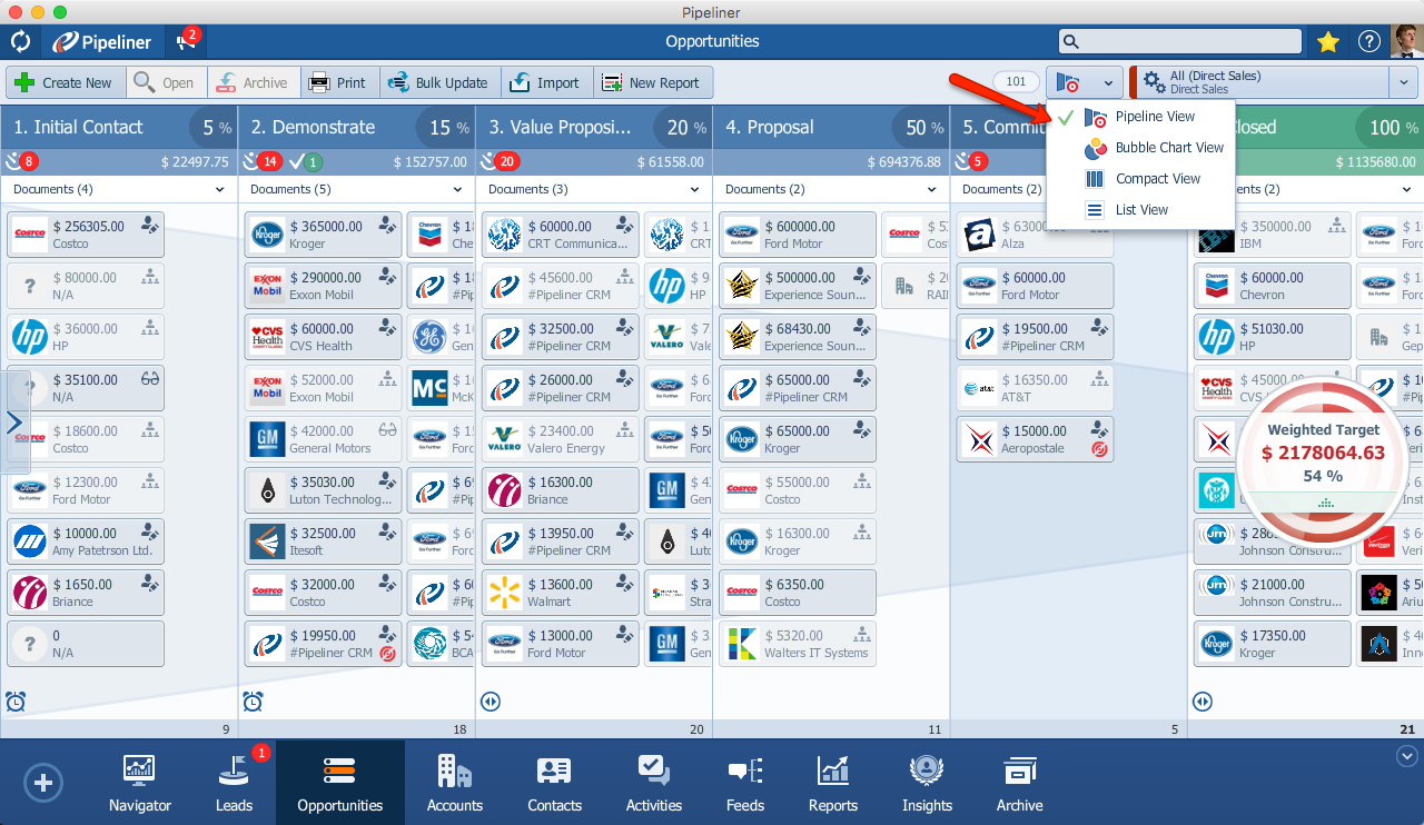 Pipeliner CRM Pipeline View