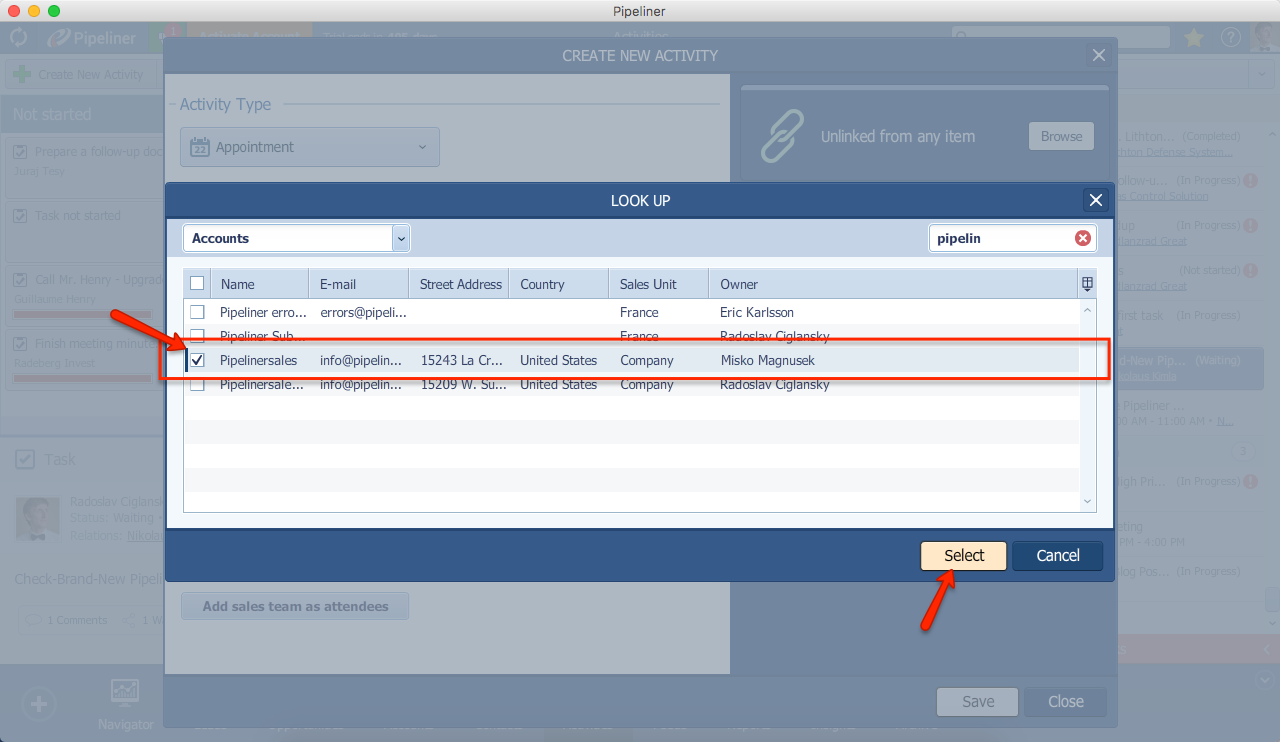 Pipeliner CRM Activity Link Account