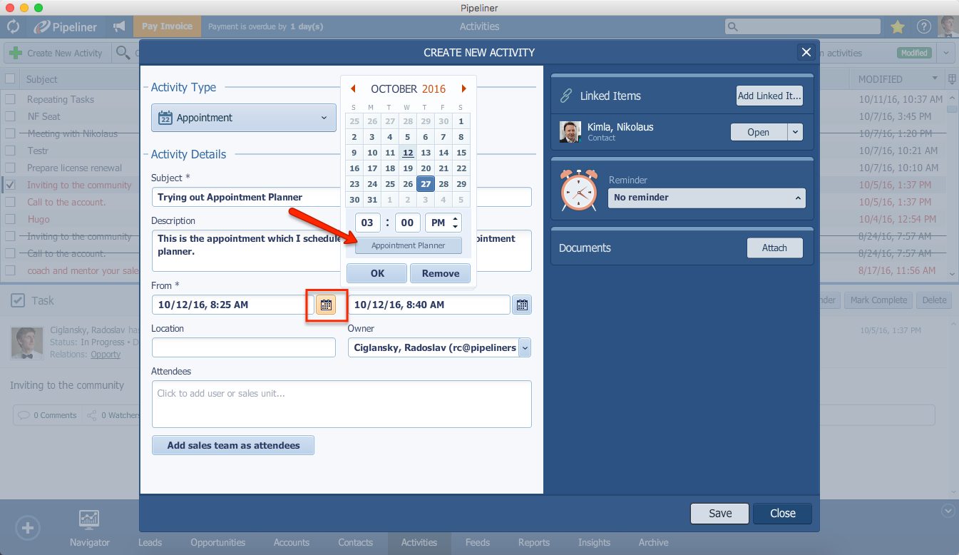 Pipeliner CRM Appointment Planner Access