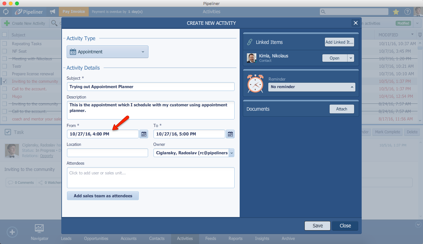 Pipeliner CRM Appointment Planner Setup