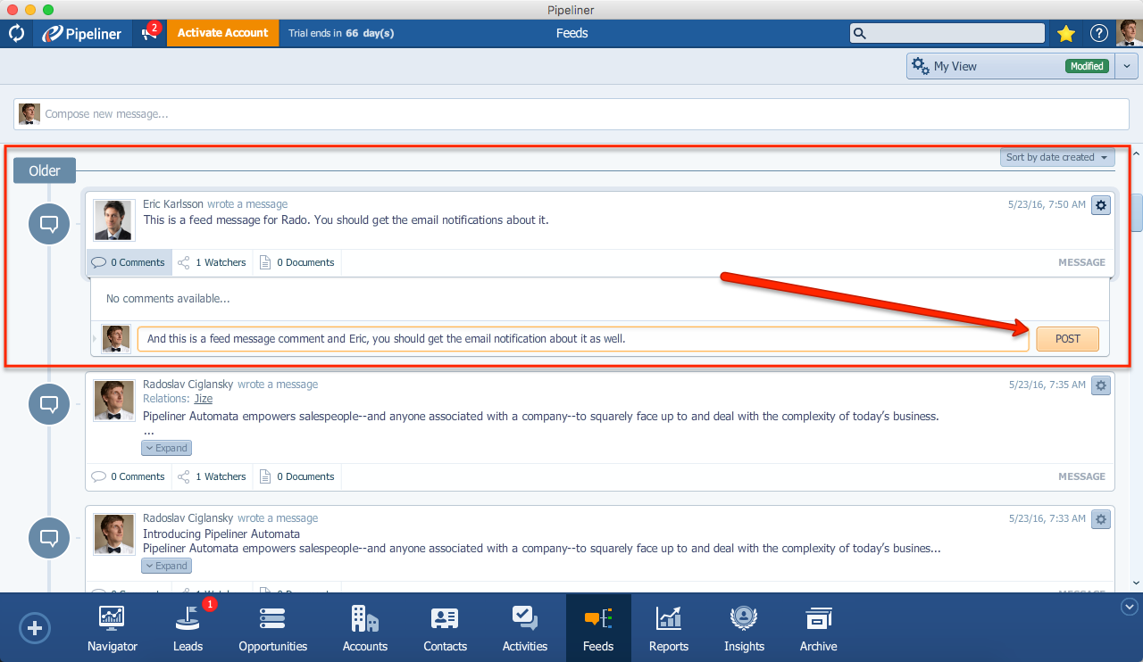 Pipeliner CRM Comment a Feed Message