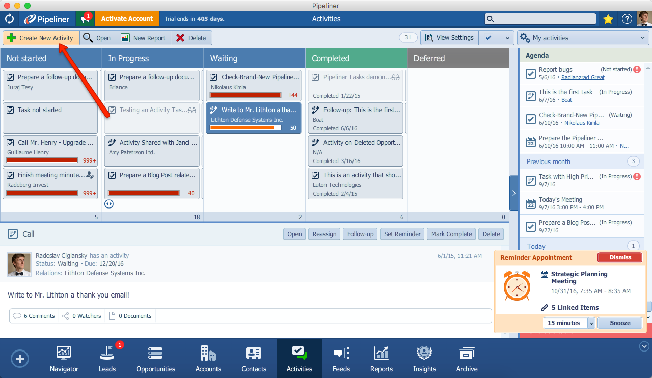 Pipeliner CRM Create New Activity