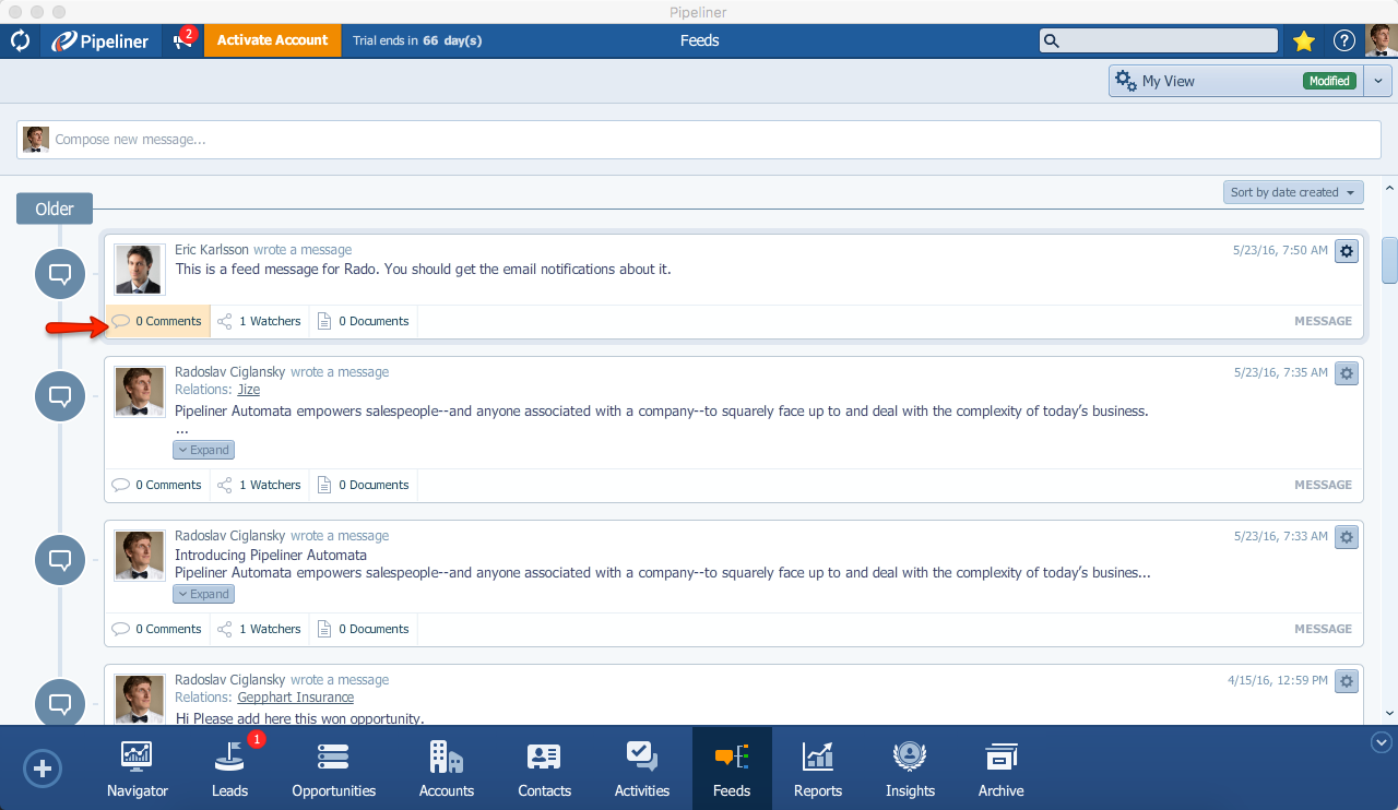 Pipeliner CRM Feed Message Open Comments