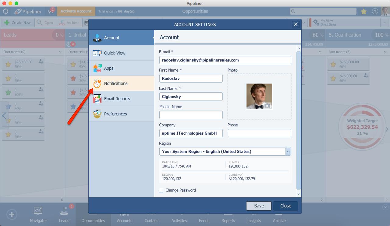 Pipeliner CRM Open Notification Center