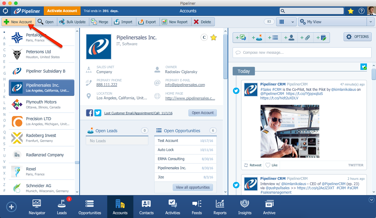 Pipeliner CRM Create New Account