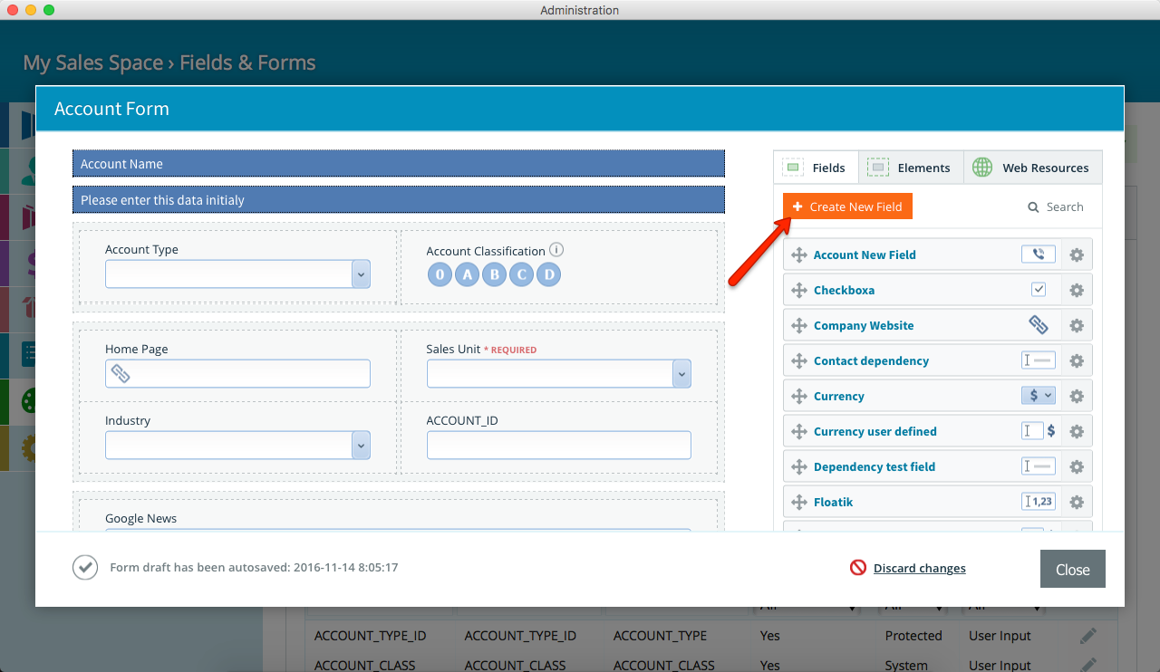 Pipeliner CRM Create New Custom Field