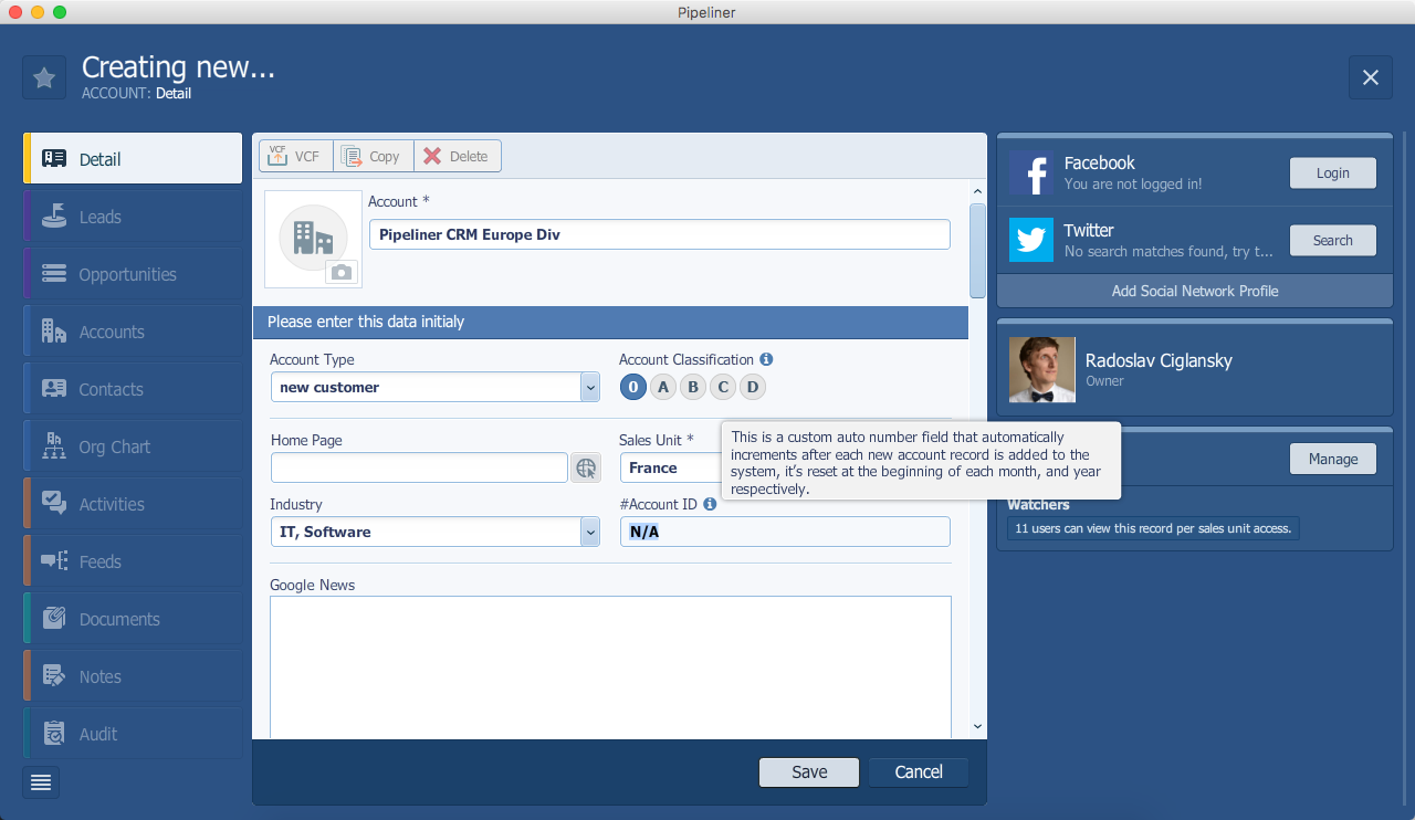 Pipeliner CRM Creating New Account