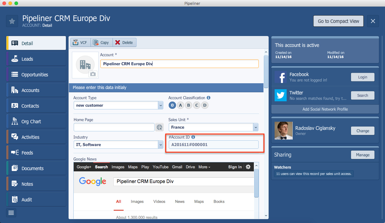 Pipeliner CRM Custom Auto Number Field