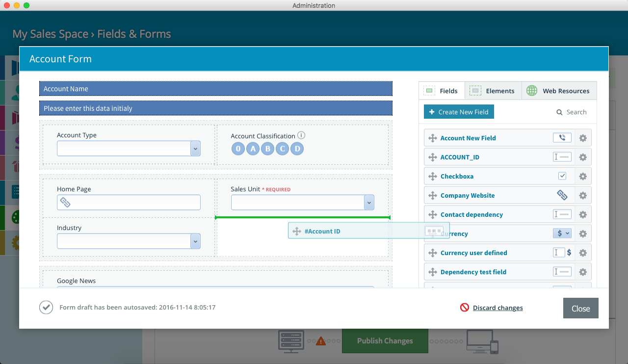 Pipeliner CRM Drag and Drop Field to Form