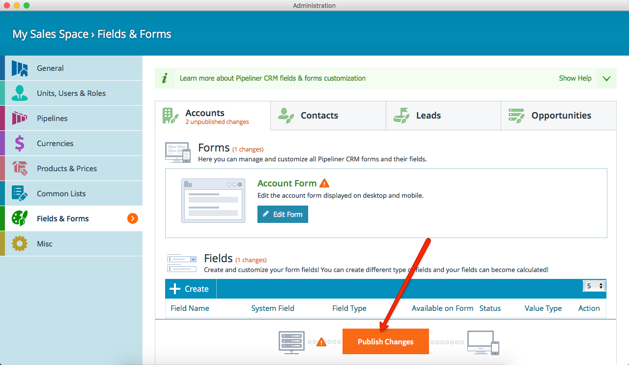 Pipeliner CRM Publish Changes