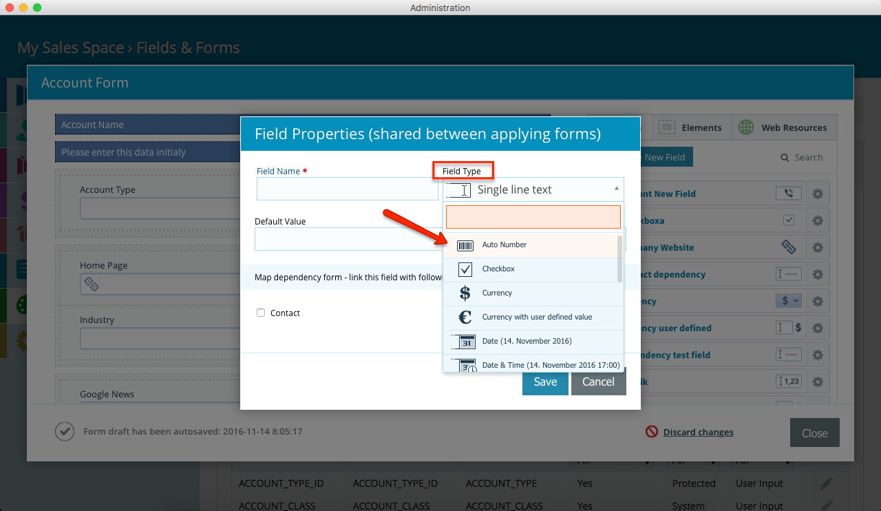Pipeliner CRM Select Custom Auto Number Field