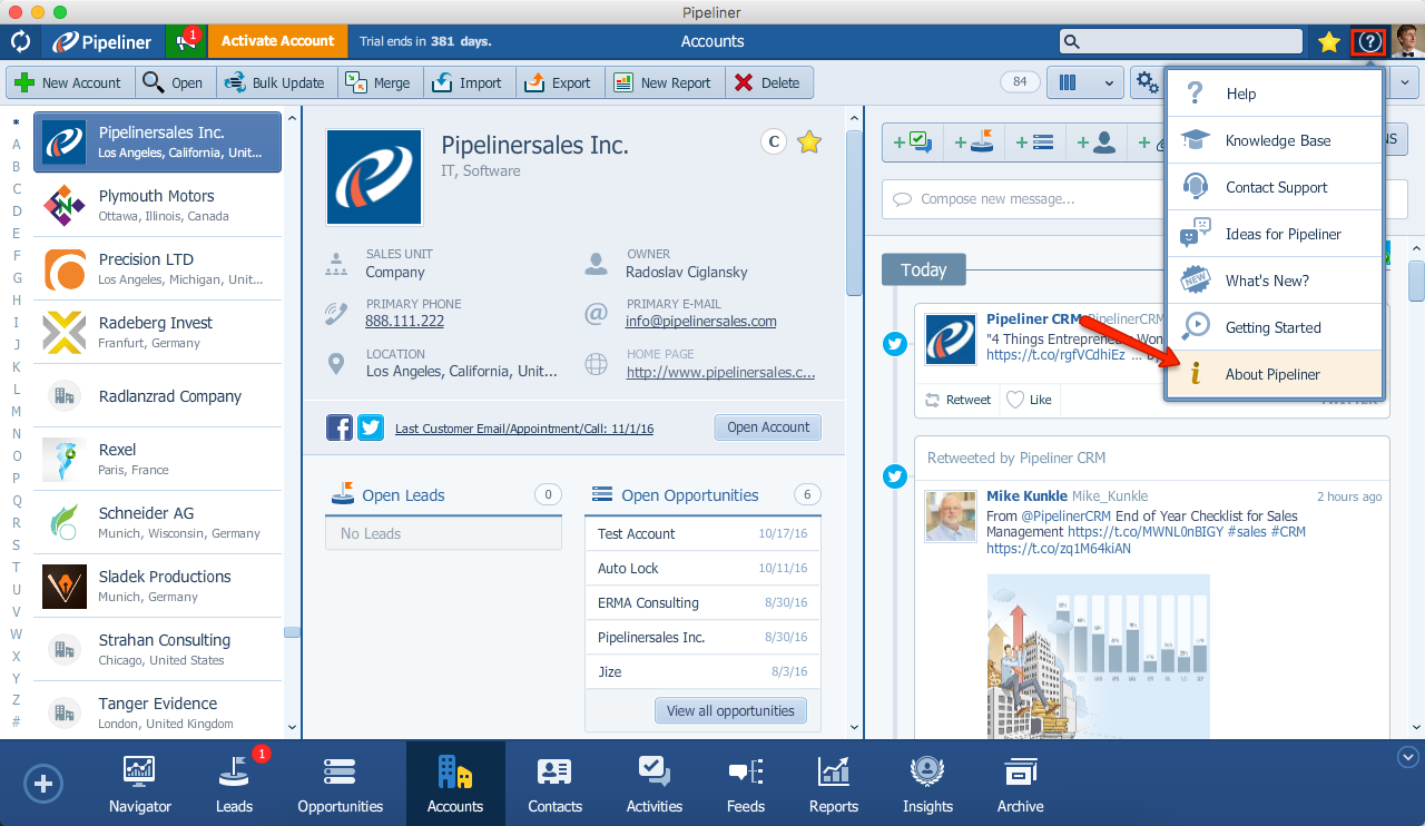 Pipeliner CRM Version Check