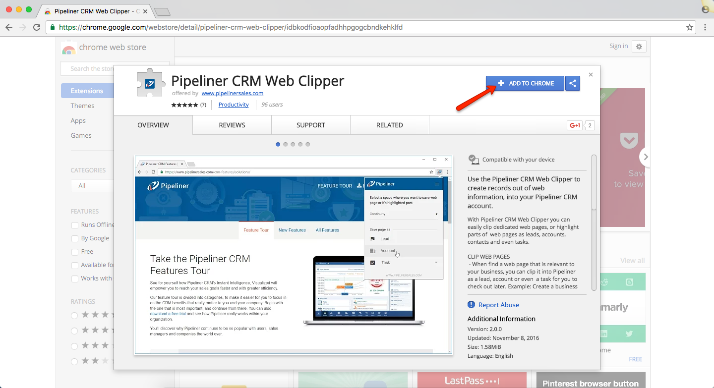 Pipeliner CRM Web Clipper Add to Chrome