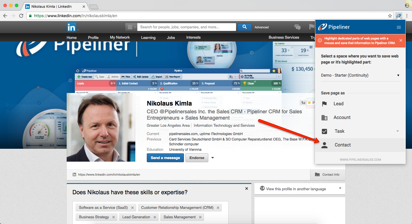 Pipeliner CRM Web Clipper Contact Select