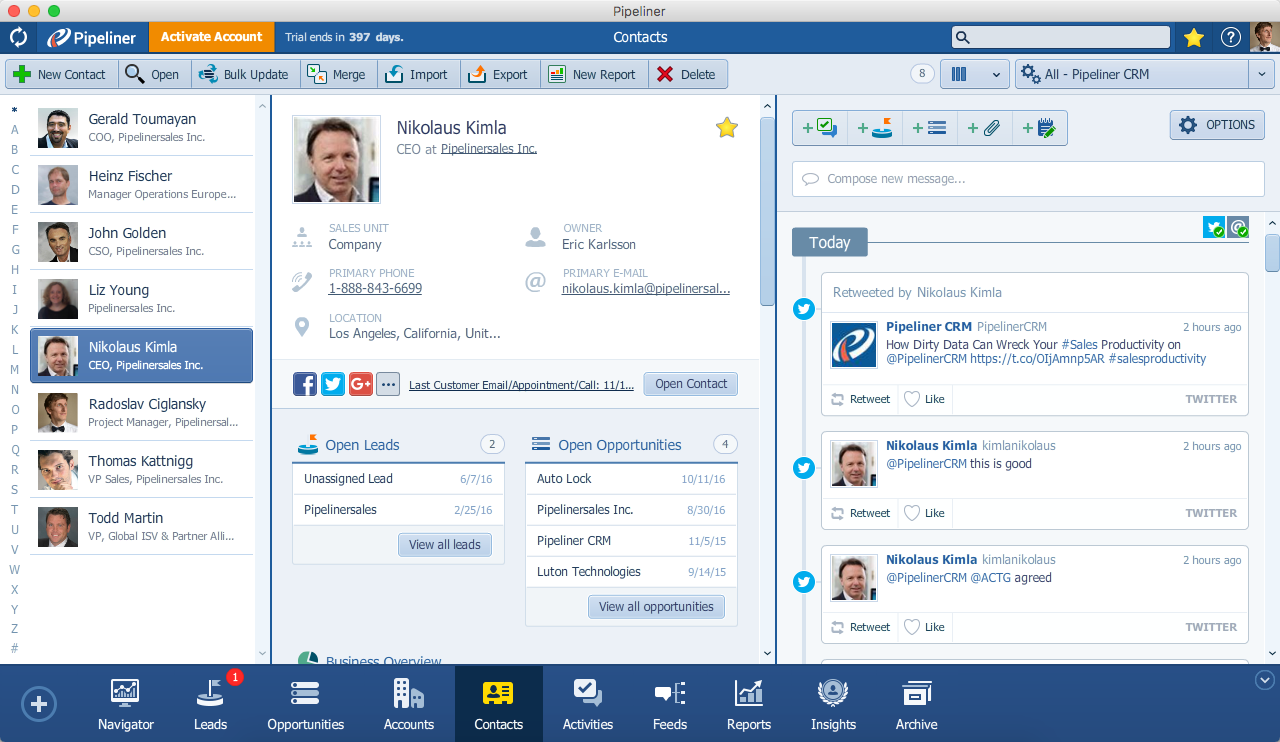Pipeliner CRM Web Clipper Contact in Pipeliner
