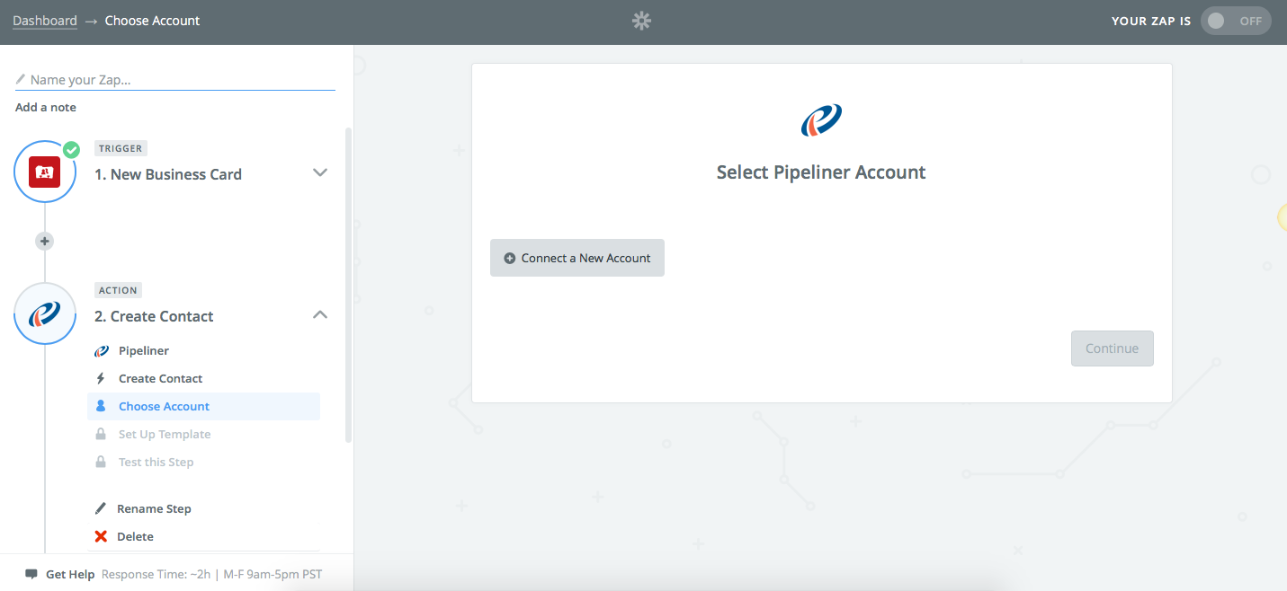 Zapier Pipeliner CRM Connect Account