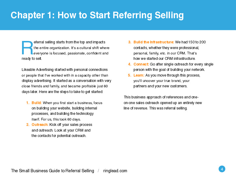 eBook: The RingLead Small Business Guide to Referral Selling by