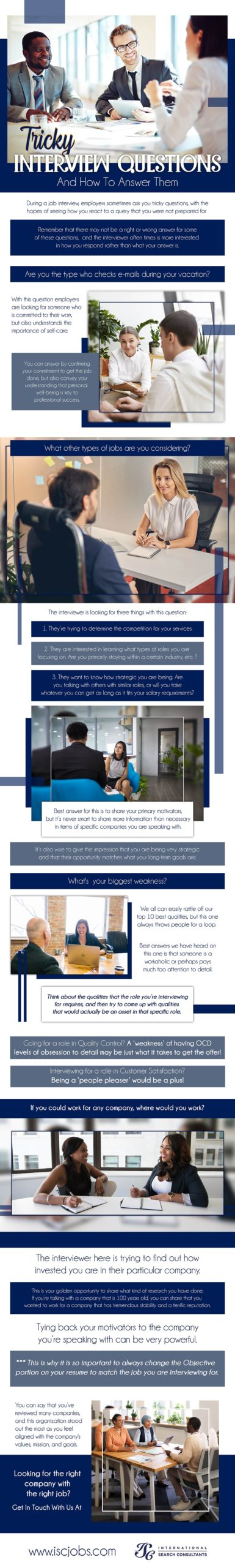 Tricky interview questions infographic